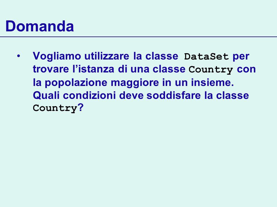 Domanda Vogliamo utilizzare la classe DataSet per trovare listanza di una classe Country con la popolazione maggiore in un insieme. Quali condizioni d