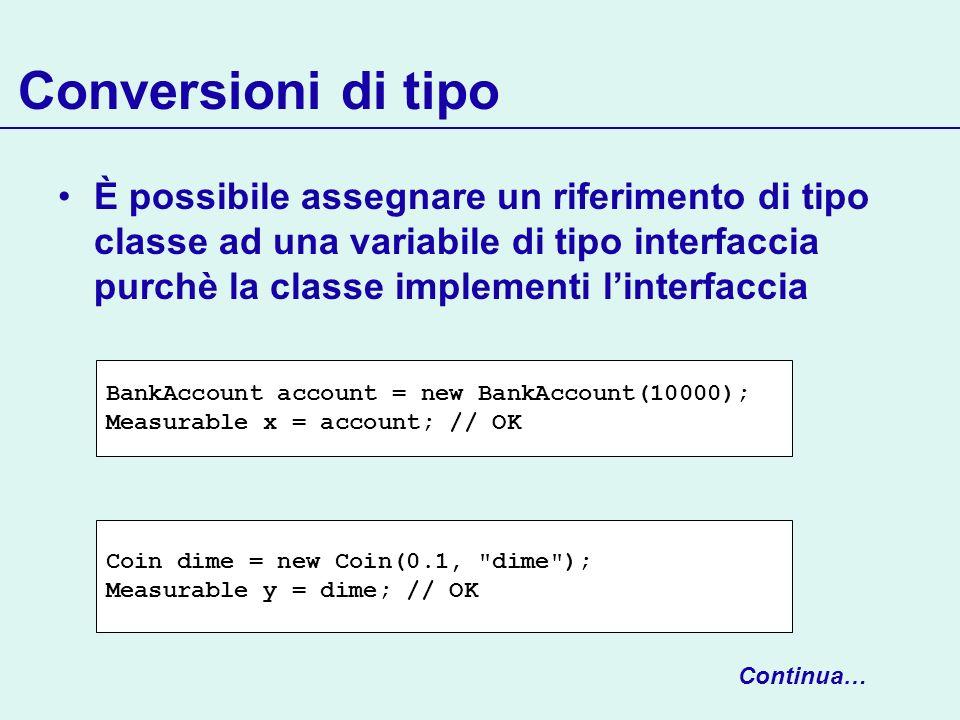 Conversioni di tipo È possibile assegnare un riferimento di tipo classe ad una variabile di tipo interfaccia purchè la classe implementi linterfaccia