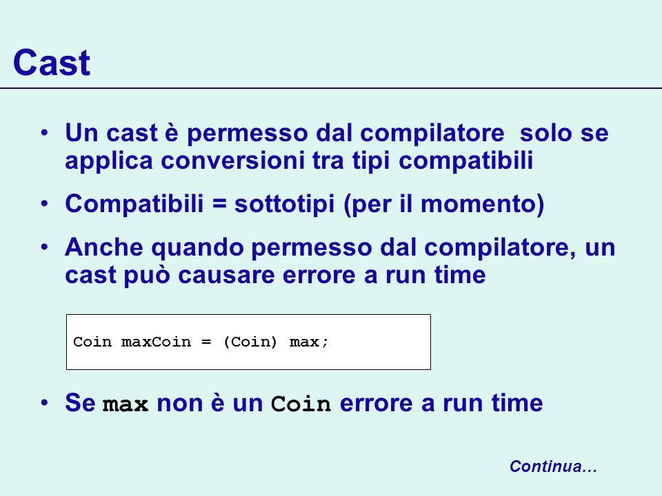Cast Un cast è permesso dal compilatore solo se applica conversioni tra tipi compatibili Compatibili = sottotipi (per il momento) Anche quando permess