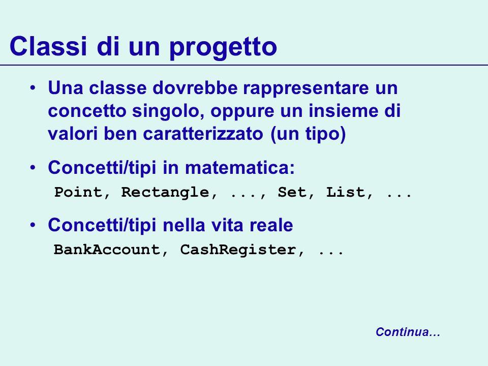 Classi di un progetto Una classe dovrebbe rappresentare un concetto singolo, oppure un insieme di valori ben caratterizzato (un tipo) Concetti/tipi in