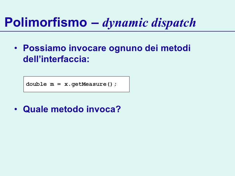 Polimorfismo – dynamic dispatch Possiamo invocare ognuno dei metodi dellinterfaccia: Quale metodo invoca? double m = x.getMeasure();
