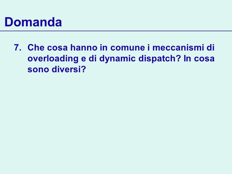 Domanda 7.Che cosa hanno in comune i meccanismi di overloading e di dynamic dispatch? In cosa sono diversi?