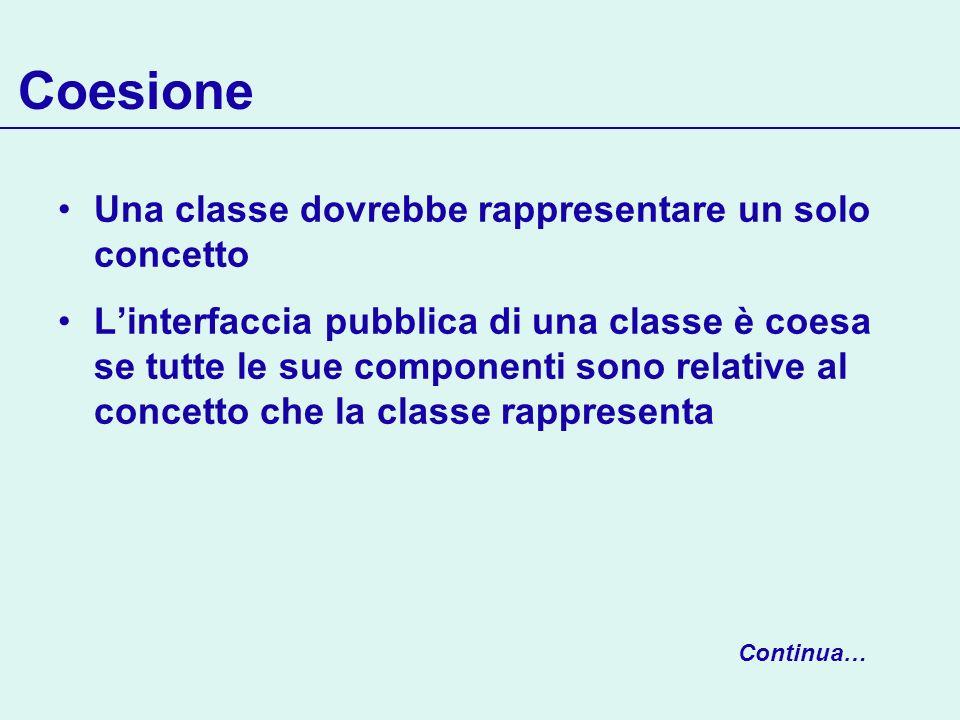 Coesione Una classe dovrebbe rappresentare un solo concetto Linterfaccia pubblica di una classe è coesa se tutte le sue componenti sono relative al co