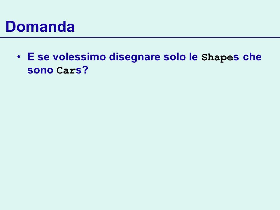 Domanda E se volessimo disegnare solo le Shape s che sono Car s?