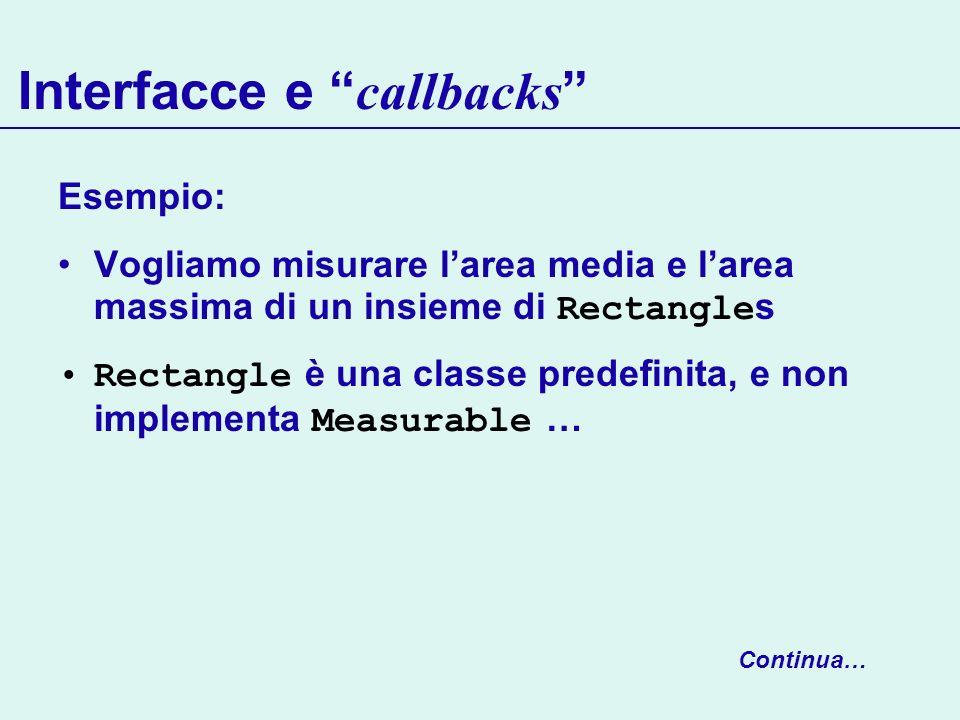 Interfacce e callbacks Esempio: Vogliamo misurare larea media e larea massima di un insieme di Rectangle s Rectangle è una classe predefinita, e non i