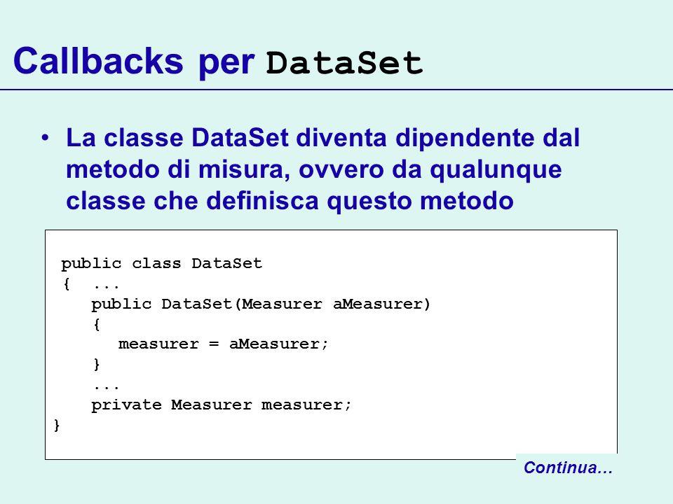 Callbacks per DataSet La classe DataSet diventa dipendente dal metodo di misura, ovvero da qualunque classe che definisca questo metodo public class D