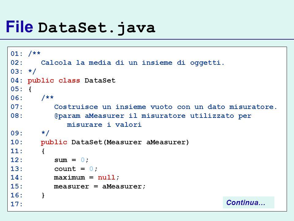 File DataSet.java 01: /** 02: Calcola la media di un insieme di oggetti. 03: */ 04: public class DataSet 05: { 06: /** 07: Costruisce un insieme vuoto