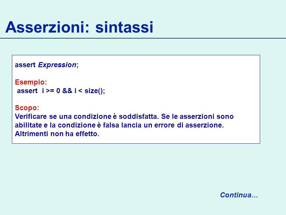 Asserzioni: sintassi assert Expression; Esempio: assert i >= 0 && i < size(); Scopo: Verificare se una condizione è soddisfatta.