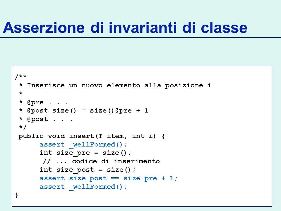 Asserzione di invarianti di classe /** * Inserisce un nuovo elemento alla posizione i * * @pre...