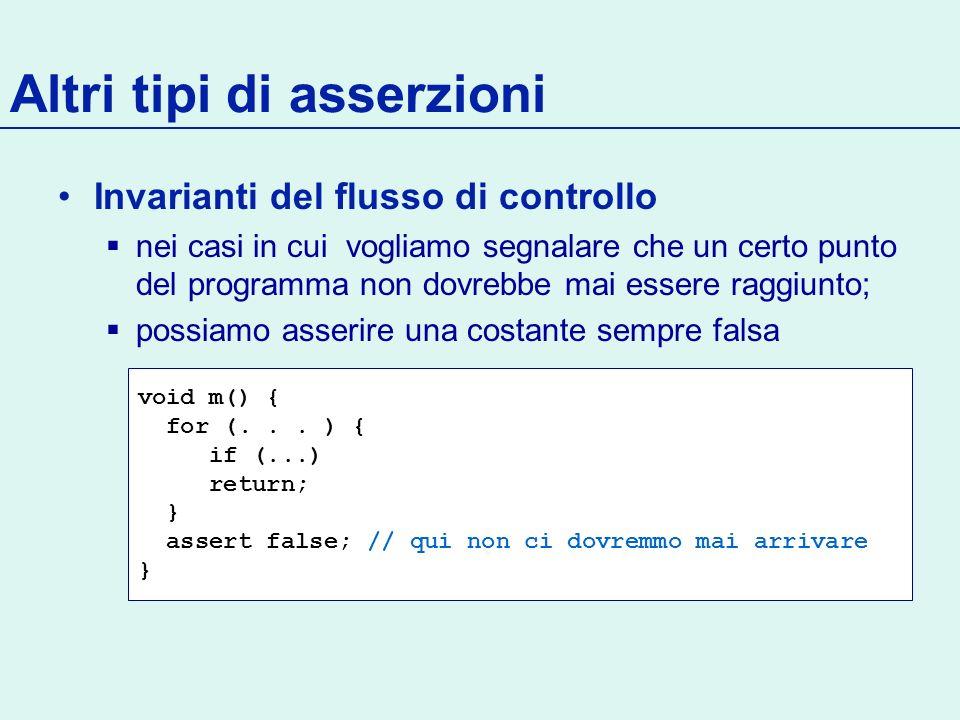 Invarianti del flusso di controllo nei casi in cui vogliamo segnalare che un certo punto del programma non dovrebbe mai essere raggiunto; possiamo asserire una costante sempre falsa Altri tipi di asserzioni void m() { for (...