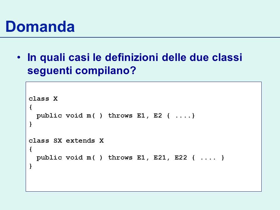 Domanda In quali casi le definizioni delle due classi seguenti compilano.