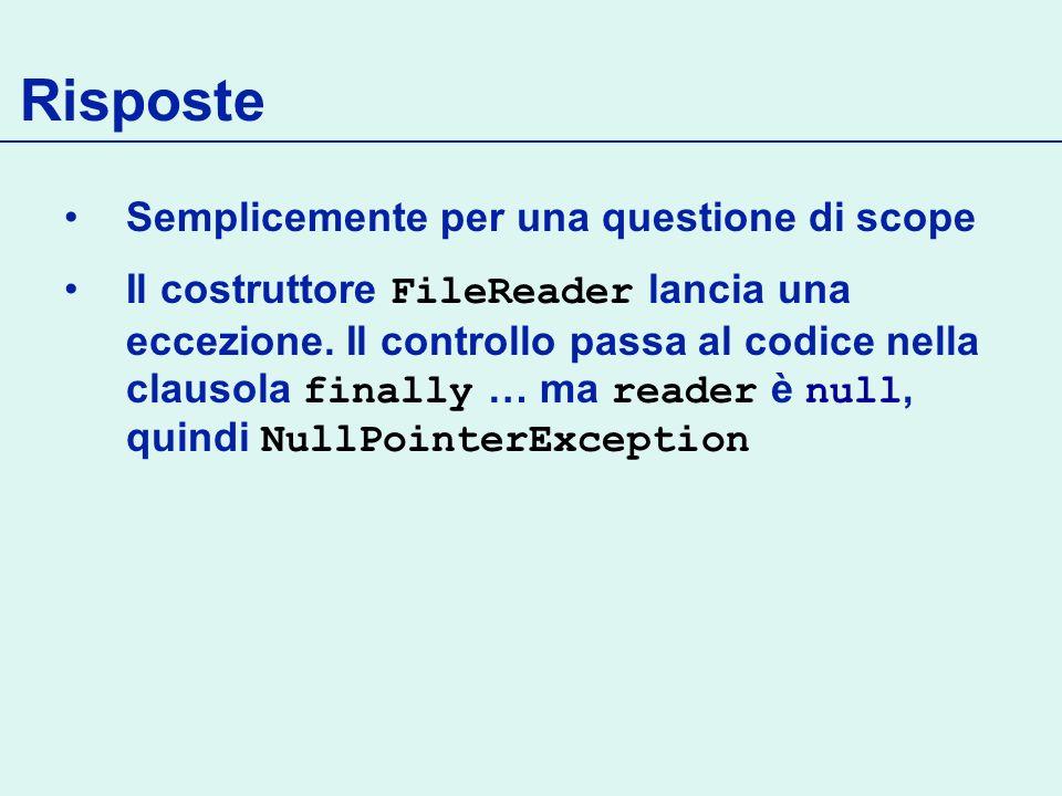 Risposte Semplicemente per una questione di scope Il costruttore FileReader lancia una eccezione.