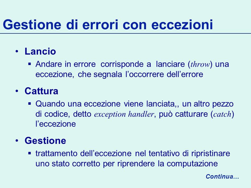 Lancio di eccezioni Le eccezioni sono oggetti, con tipi associati Devono prima essere costruite Poi possono essere lanciate Continua… throw exn; exn = new IllegalArgumentException(Bad Argument ); IllegalArgumentException exn;
