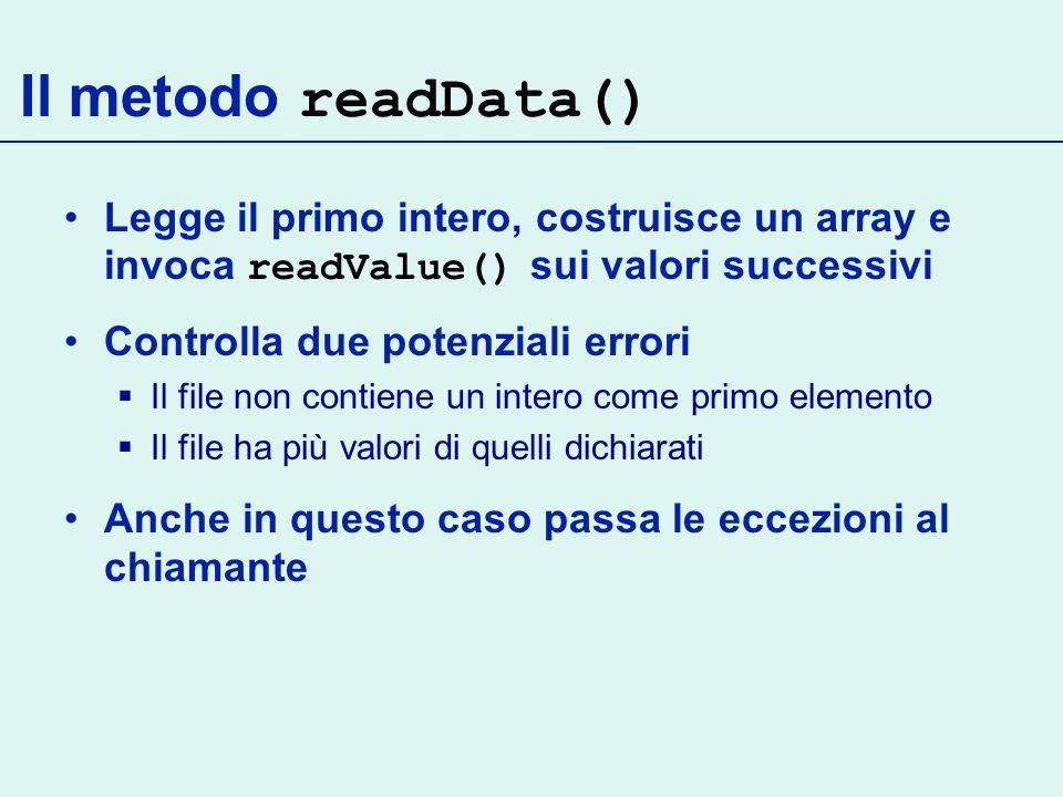 Legge il primo intero, costruisce un array e invoca readValue() sui valori successivi Controlla due potenziali errori Il file non contiene un intero come primo elemento Il file ha più valori di quelli dichiarati Anche in questo caso passa le eccezioni al chiamante Il metodo readData()