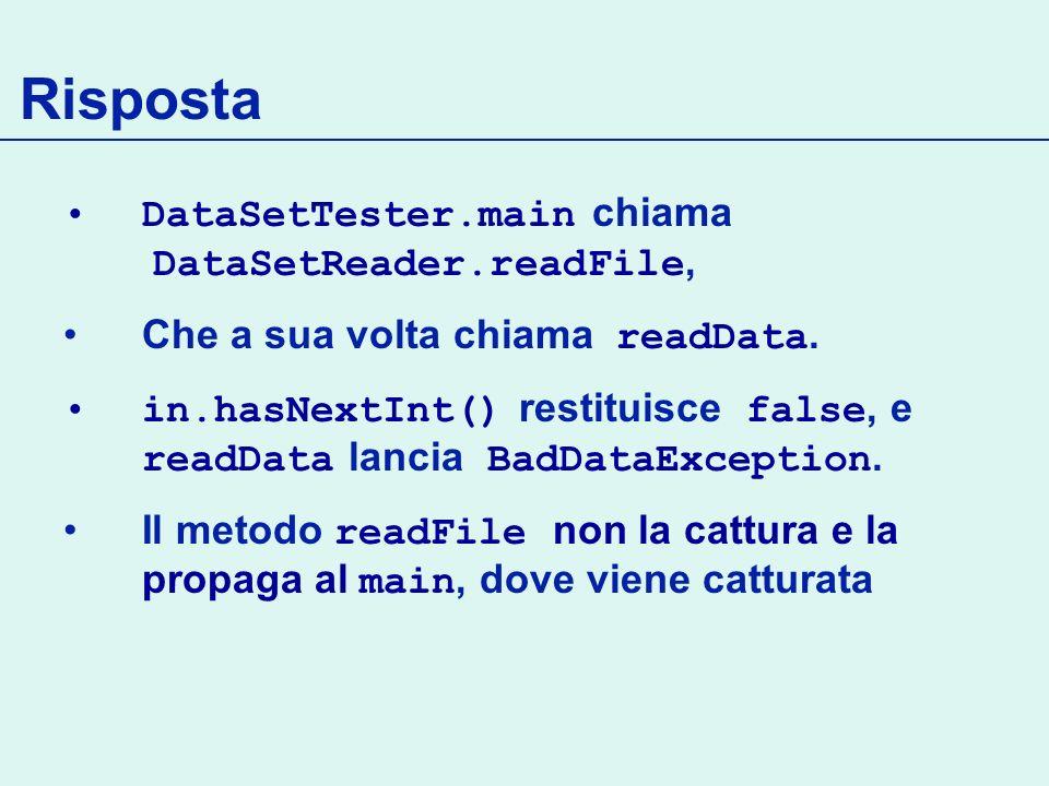 Risposta DataSetTester.main chiama DataSetReader.readFile, Che a sua volta chiama readData.