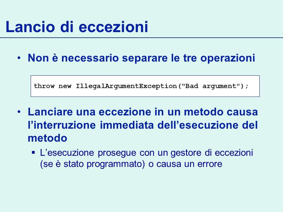 Eccezioni user-defined Normalmente sono checked Continua… public class NotEnoughCreditException extends Exception { public NotEnoughCreditException(String msg) { super(msg); }