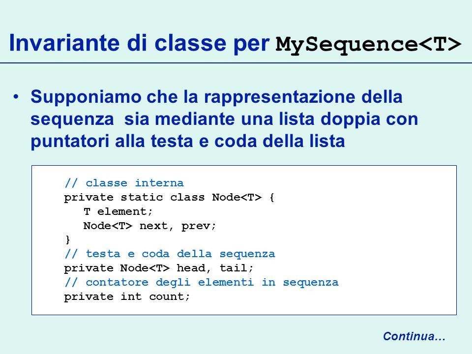 Invariante di classe per MySequence Supponiamo che la rappresentazione della sequenza sia mediante una lista doppia con puntatori alla testa e coda della lista Continua… // classe interna private static class Node { T element; Node next, prev; } // testa e coda della sequenza private Node head, tail; // contatore degli elementi in sequenza private int count;