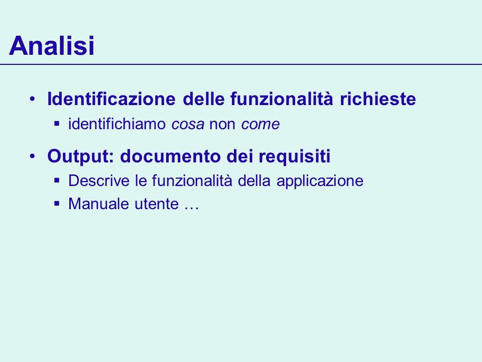 Analisi Identificazione delle funzionalità richieste identifichiamo cosa non come Output: documento dei requisiti Descrive le funzionalità della appli