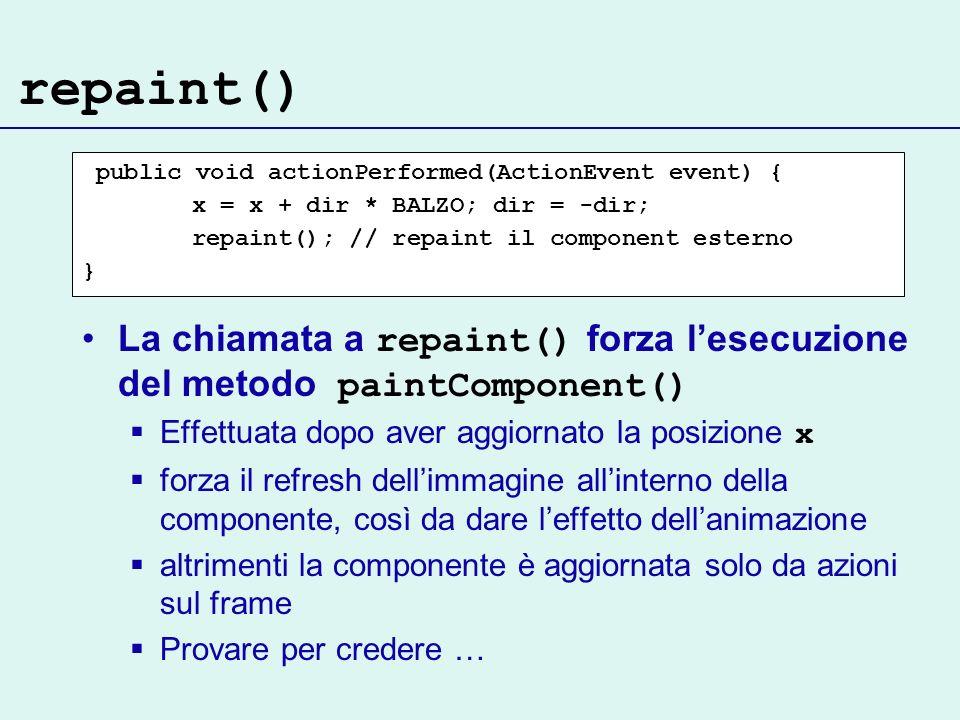 repaint() La chiamata a repaint() forza lesecuzione del metodo paintComponent() Effettuata dopo aver aggiornato la posizione x forza il refresh dellimmagine allinterno della componente, così da dare leffetto dellanimazione altrimenti la componente è aggiornata solo da azioni sul frame Provare per credere … public void actionPerformed(ActionEvent event) { x = x + dir * BALZO; dir = -dir; repaint(); // repaint il component esterno }