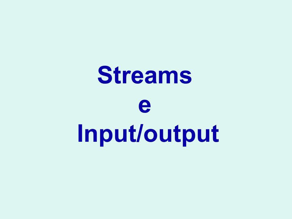 writeObject() Scrive un intero oggetto sulla stream Anche una lista viene scritta da una sola writeObject BankAccount b =...; ObjectOutputStream out = new ObjectOutputStream( new FileOutputStream( bank.dat )); out.writeObject(b); ArrayList a = new ArrayList (); //...