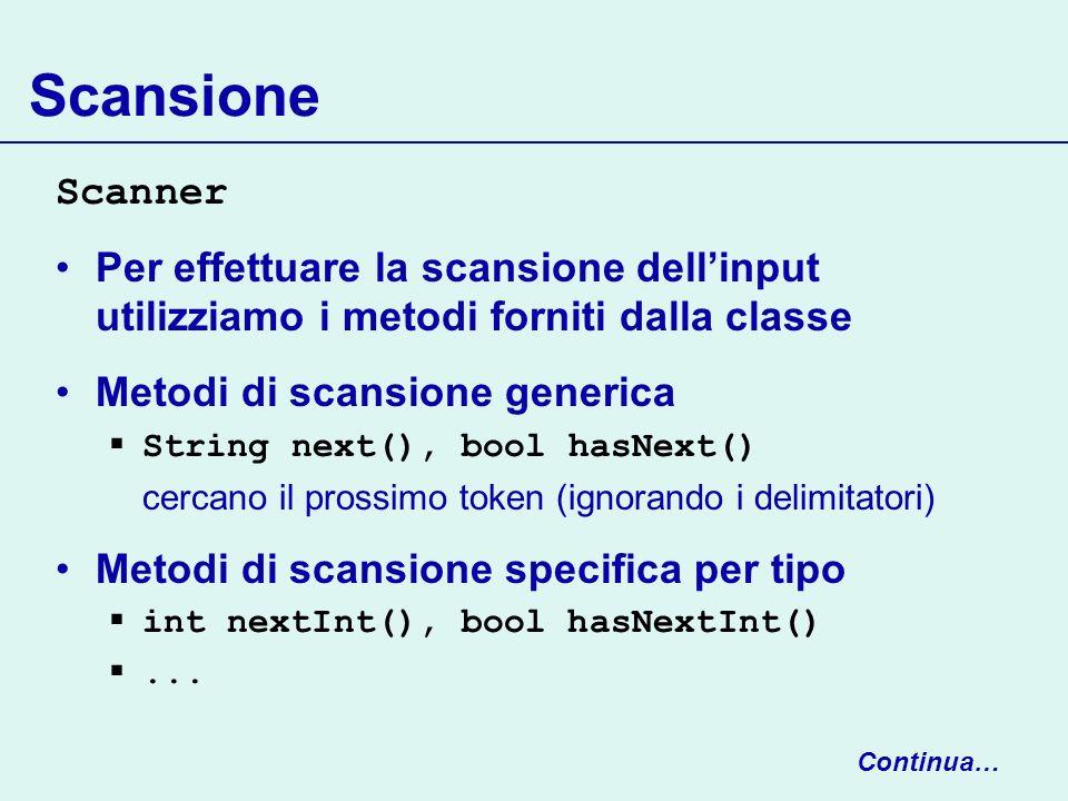 Input/output strutturato Per operazioni più complesse utilizziamo le sottoclassi, come classi decorators Reader reader = new FileReader(input.txt)); Scanner input = new Scanner(reader); Writer writer = new FileWriter(output.txt)); PrintWriter output = new PrintWriter(writer)); InputStream is = new FileInputStream(in.bin)); DataInputStream dis = new DataInputStream(is); OutputStream os = new FileOutputStream(out.bin)); DataOutputStream dos = new DataOutputStream(os);