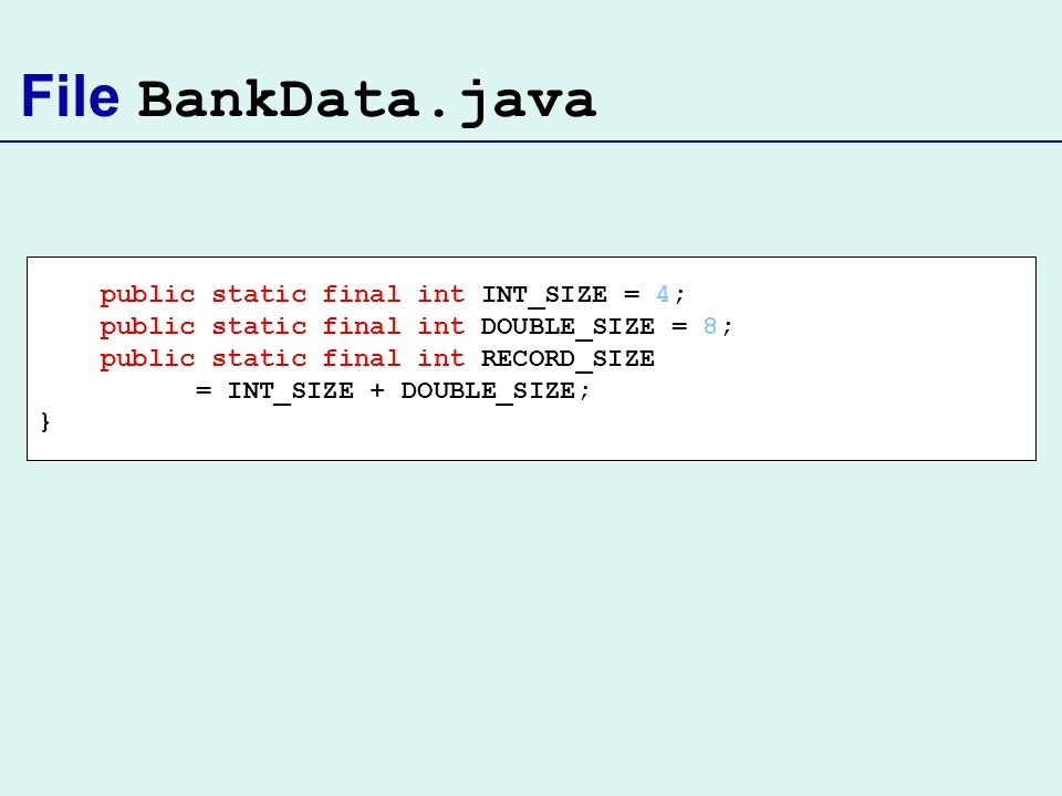 File BankData.java public static final int INT_SIZE = 4; public static final int DOUBLE_SIZE = 8; public static final int RECORD_SIZE = INT_SIZE + DOU