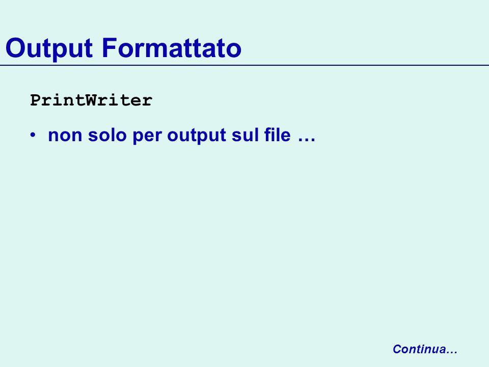 Serializzazione user-defined Sia C la nostra classe Serializable Definiamo in C due metodi: void writeObject(ObjectOutputStream) void readObject(ObjectInputStream) Invocati automaticamente da ObjectOutputStream.writeObject(Object o) quando largomento ha tipo C ObjectInputStream.readObject() per leggere argomenti scritti da C.writeObject(ObjectOutputStream)