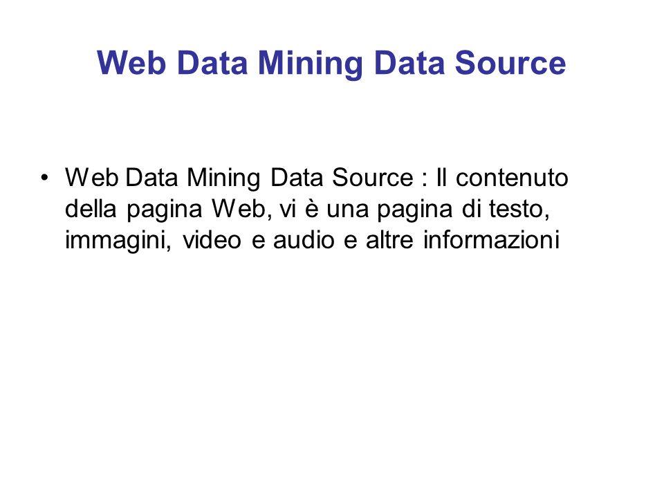 Web Data Mining Data Source Web Data Mining Data Source : Il contenuto della pagina Web, vi è una pagina di testo, immagini, video e audio e altre inf