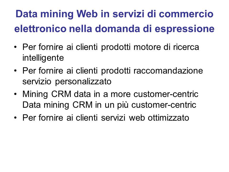 Data mining Web in servizi di commercio elettronico nella domanda di espressione Per fornire ai clienti prodotti motore di ricerca intelligente Per fo