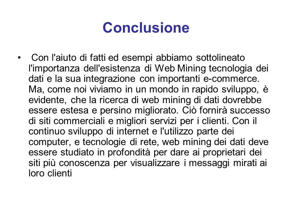 Conclusione Con l'aiuto di fatti ed esempi abbiamo sottolineato l'importanza dell'esistenza di Web Mining tecnologia dei dati e la sua integrazione co