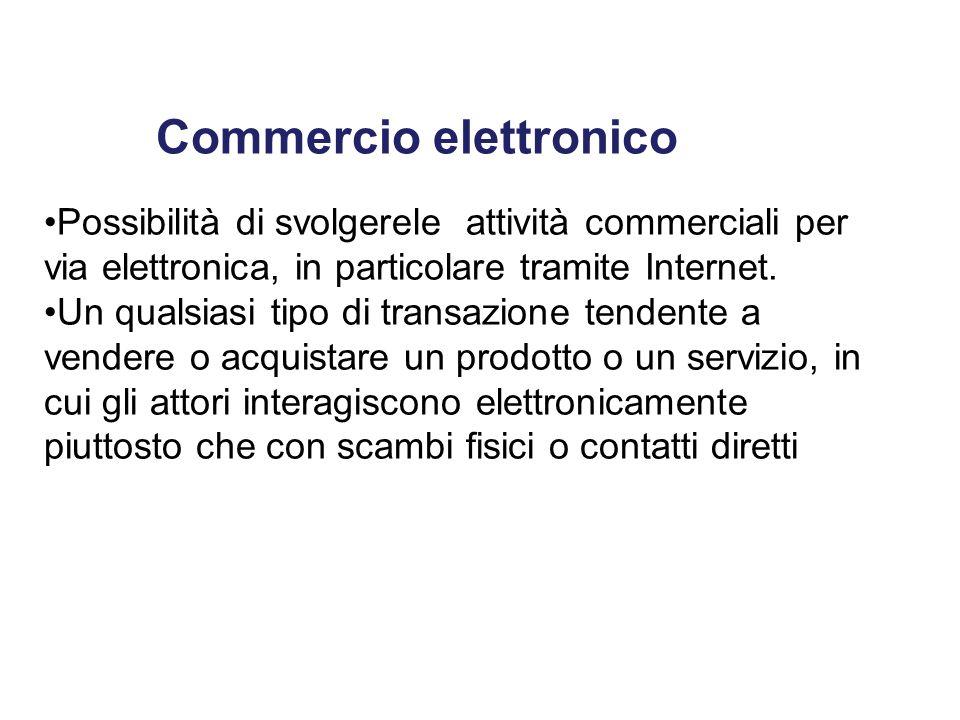 Commercio elettronico Possibilità di svolgerele attività commerciali per via elettronica, in particolare tramite Internet. Un qualsiasi tipo di transa