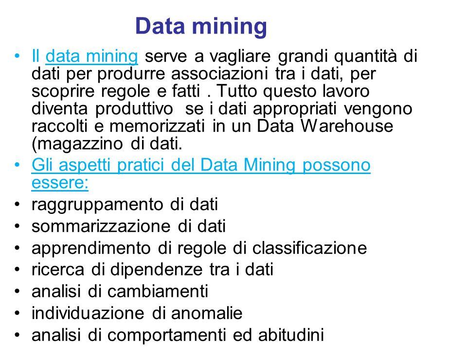 Data mining Il data mining serve a vagliare grandi quantità di dati per produrre associazioni tra i dati, per scoprire regole e fatti. Tutto questo la