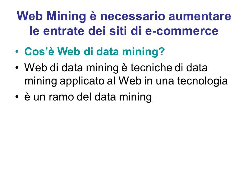 Web Mining è necessario aumentare le entrate dei siti di e-commerce Cosè Web di data mining? Web di data mining è tecniche di data mining applicato al