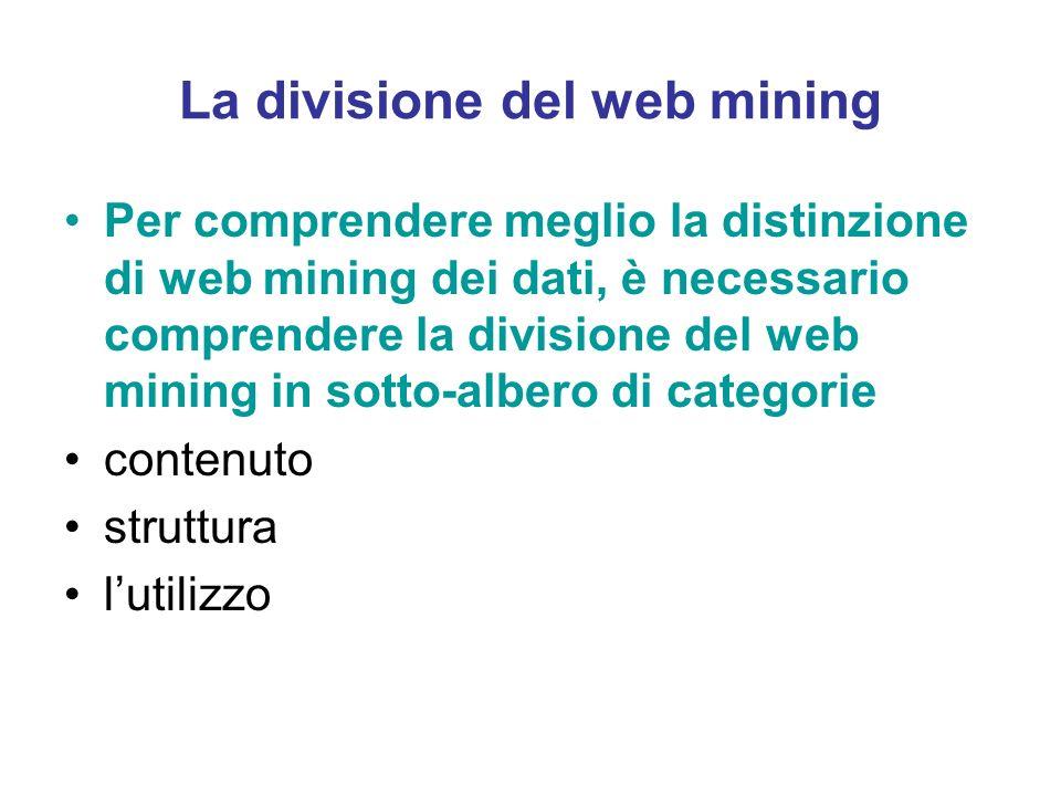La divisione del web mining Per comprendere meglio la distinzione di web mining dei dati, è necessario comprendere la divisione del web mining in sott