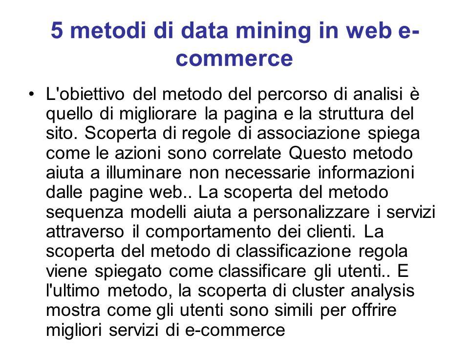5 metodi di data mining in web e- commerce L'obiettivo del metodo del percorso di analisi è quello di migliorare la pagina e la struttura del sito. Sc