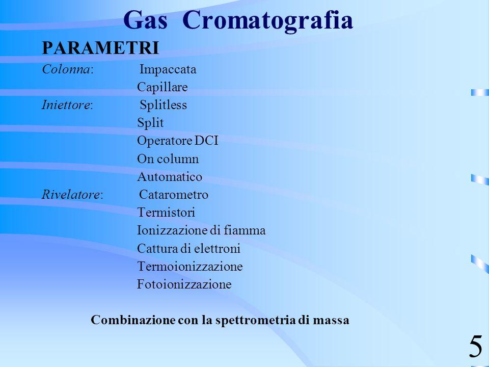 Gas Cromatografia PARAMETRI Colonna: Impaccata Capillare Iniettore: Splitless Split Operatore DCI On column Automatico Rivelatore: Catarometro Termist