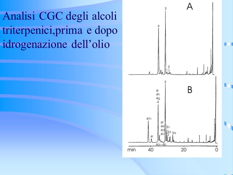 Analisi CGC degli alcoli triterpenici,prima e dopo idrogenazione dellolio