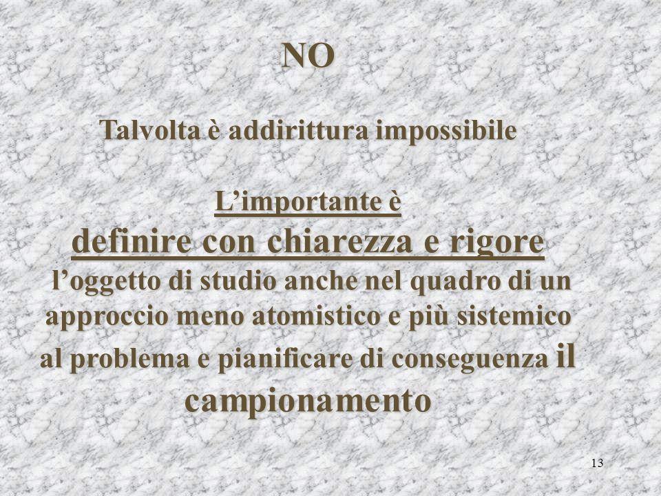 13 NO Talvolta è addirittura impossibile Limportante è definire con chiarezza e rigore loggetto di studio anche nel quadro di un approccio meno atomis