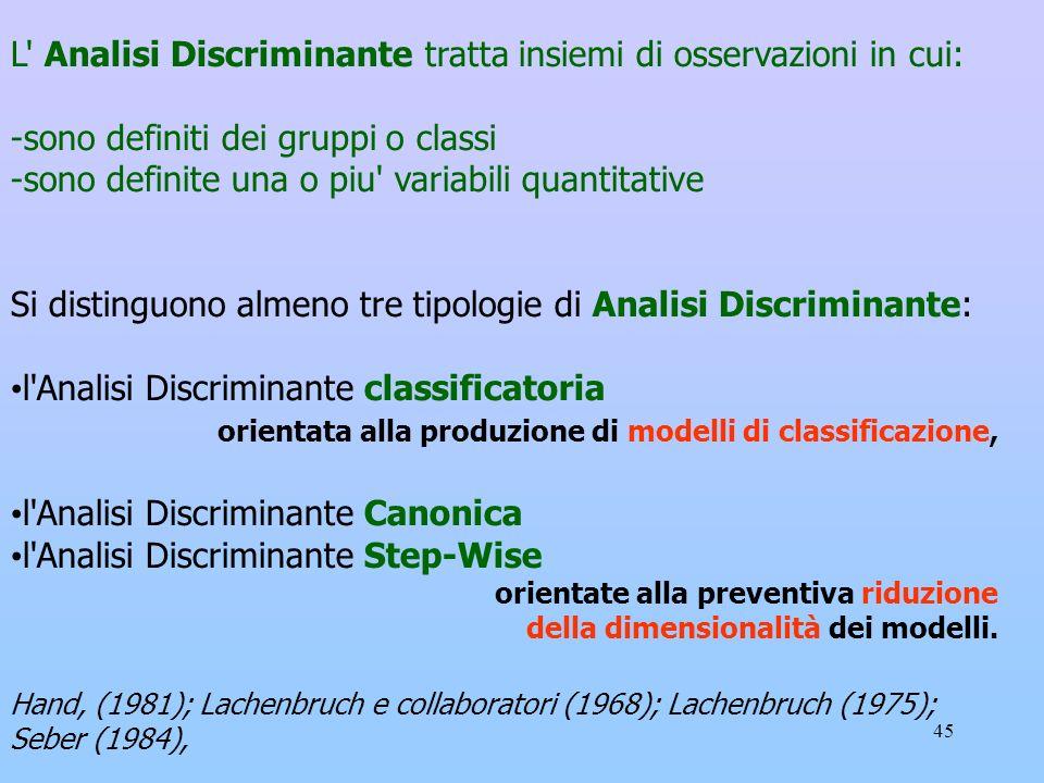 45 L' Analisi Discriminante tratta insiemi di osservazioni in cui: -sono definiti dei gruppi o classi -sono definite una o piu' variabili quantitative