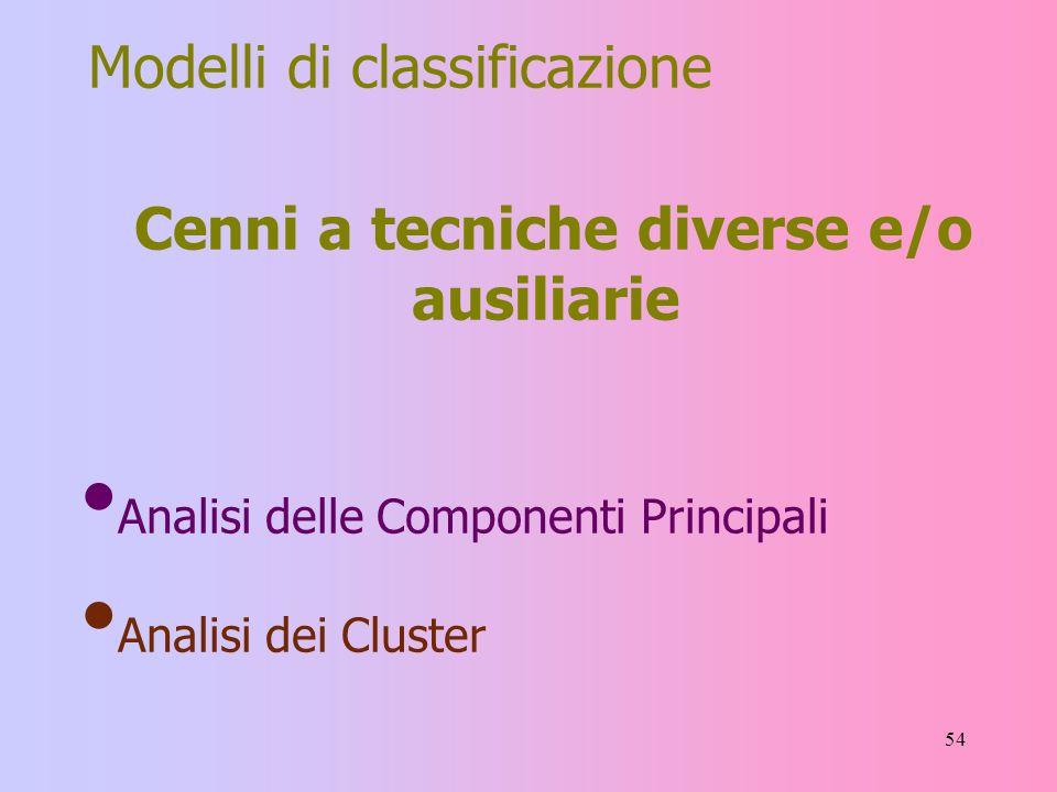 54 Modelli di classificazione Cenni a tecniche diverse e/o ausiliarie Analisi delle Componenti Principali Analisi dei Cluster