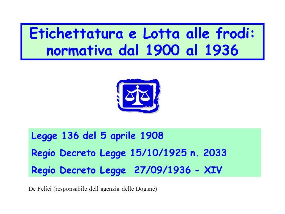 Etichettatura e Lotta alle frodi: normativa dal 1900 al 1936 Legge 136 del 5 aprile 1908 Regio Decreto Legge 15/10/1925 n. 2033 Regio Decreto Legge 27