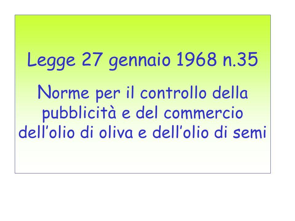 Legge 27 gennaio 1968 n.35 N orme per il controllo della pubblicità e del commercio dellolio di oliva e dellolio di semi