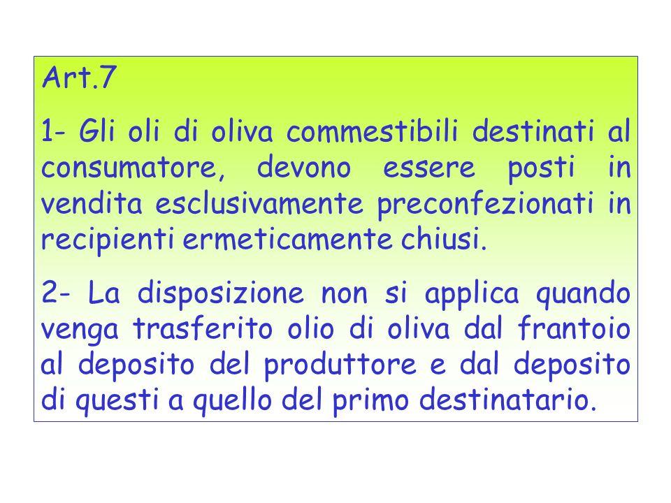 Art.7 1- Gli oli di oliva commestibili destinati al consumatore, devono essere posti in vendita esclusivamente preconfezionati in recipienti ermeticam
