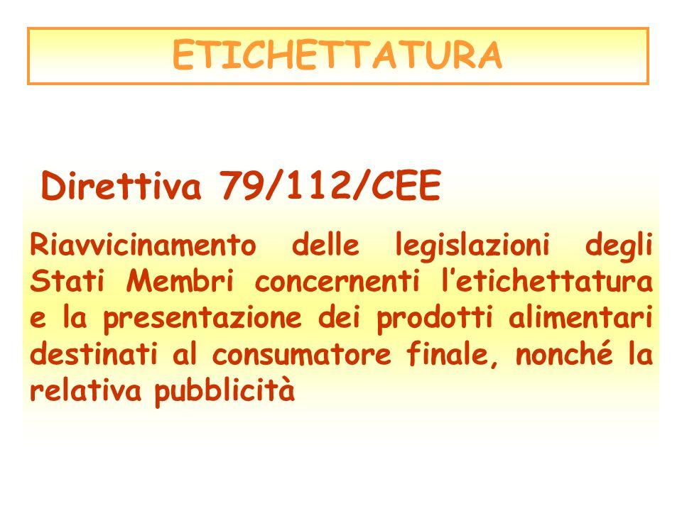 ETICHETTATURA Direttiva 79/112/CEE Riavvicinamento delle legislazioni degli Stati Membri concernenti letichettatura e la presentazione dei prodotti al