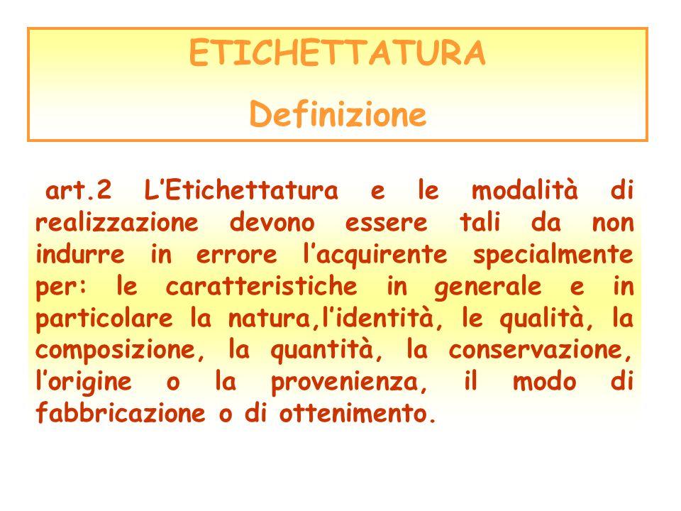 ETICHETTATURA Definizione art.2 LEtichettatura e le modalità di realizzazione devono essere tali da non indurre in errore lacquirente specialmente per