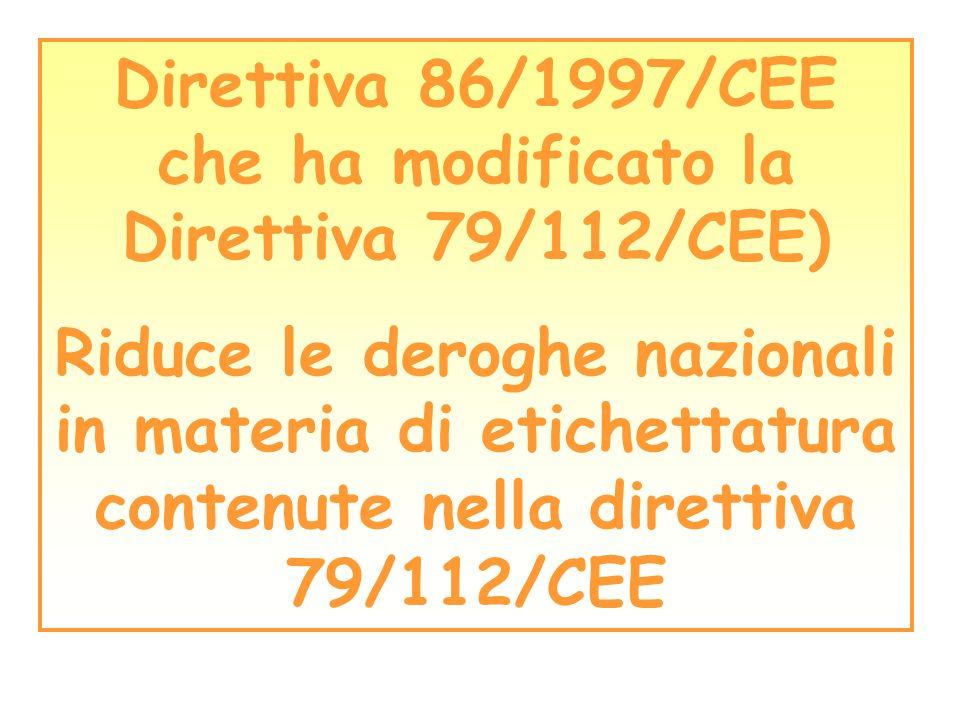 Direttiva 86/1997/CEE che ha modificato la Direttiva 79/112/CEE) Riduce le deroghe nazionali in materia di etichettatura contenute nella direttiva 79/