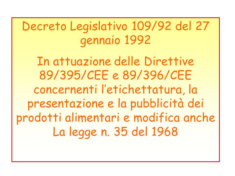 Decreto Legislativo 109/92 del 27 gennaio 1992 In attuazione delle Direttive 89/395/CEE e 89/396/CEE concernenti letichettatura, la presentazione e la