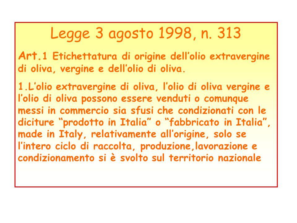 Legge 3 agosto 1998, n. 313 Art. 1 Etichettatura di origine dellolio extravergine di oliva, vergine e dellolio di oliva. 1.Lolio extravergine di oliva