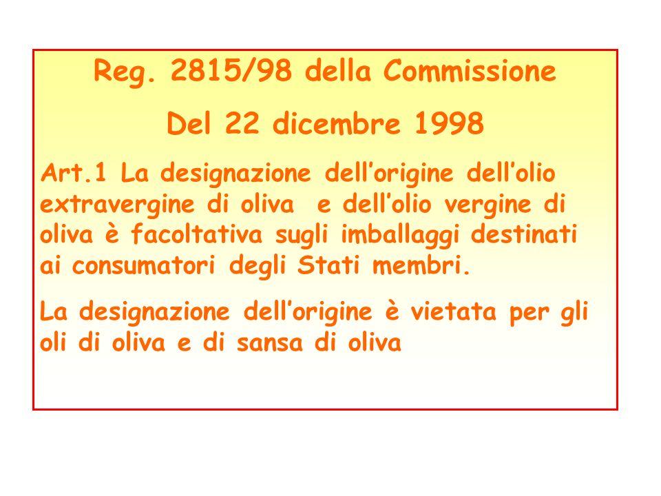 Reg. 2815/98 della Commissione Del 22 dicembre 1998 Art.1 La designazione dellorigine dellolio extravergine di oliva e dellolio vergine di oliva è fac