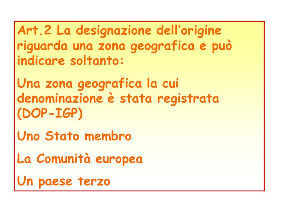 Art.2 La designazione dellorigine riguarda una zona geografica e può indicare soltanto: Una zona geografica la cui denominazione è stata registrata (D